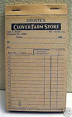 Old Droste Clover Farm Store Receipt Book Mt Olive Ill