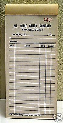 Old Mt Olive Wholesale Candy Receipt Book Mt Olive Ill