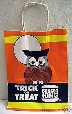 Old Burger King 1977 Halloween Promo Trick or Treat Bag