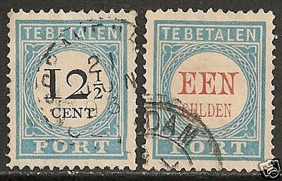 Netherlands 1881 NVPH Due 8+12  CANC  VF