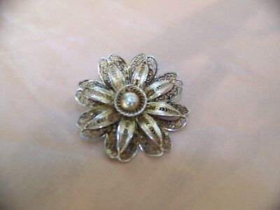 Vintage Foreign Silver Filigree Flower Pin, Gold Accnt