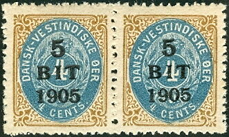 DANISH WEST INDIES #40a (29bv2), 5 cent on 4 cent pair w/INVERTED FRAMES