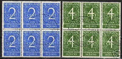 Netherlands 1950 NVPH Service 25-26 blocs of 6  CANC VF