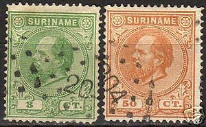 Surinam 1873 NVPH 4B+13B P.14 big holes CANC VF