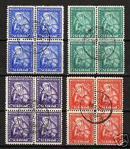 Surinam 1928 NVPH 137-140 CANC blocs of 4  VF