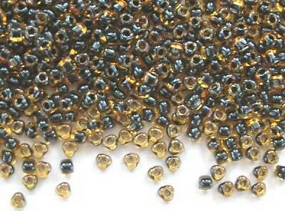 1831 10g blue-lined amber Miyuki triangles seed beads 3mm 8//0