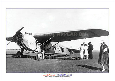 Ansett Airways Fokker F.xi Universal A3 Poster Print Picture Photo Image