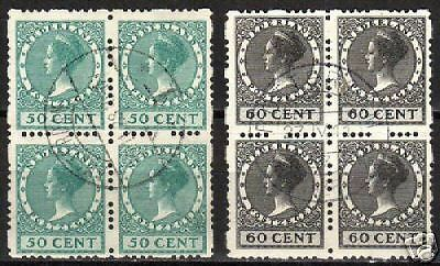 Netherlands 1928 NVPH R55-56 blocs of 4 CANC