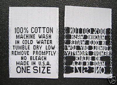 SIZE TAGS BLACK SMALL 250 pcs WOVEN CLOTHING LABELS