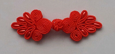 8 pairs red bead floral Chinese Frogs buttons - sewing