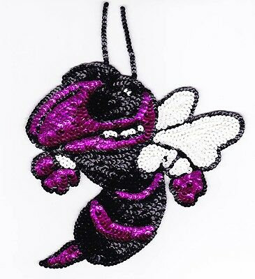 """8"""" pink bumble bee insect Sequin bead Applique sewing crafts patch motif"""