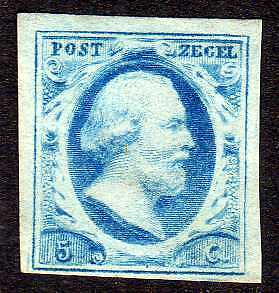 Netherlands 1852 NVPH 1 large margins  UNG  VF