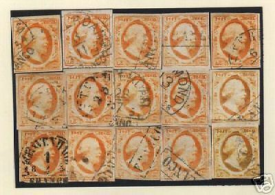 Netherlands 1852 NVPH 3(15x) large margins CANC VF