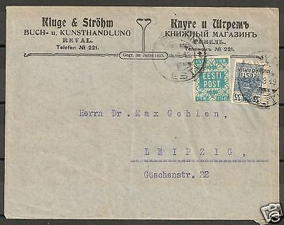 Estland 1919 mixed franked Firmcover to Leipzig