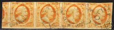 Netherlands 1852 NVPH 3 in strip of 4 CANC  F/VF