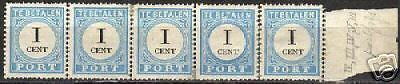 Netherlands 1881 NVPH Due 3A strip of 5 etc. MLH  F/VF