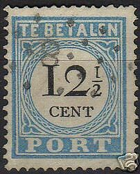 Netherlands 1881 NVPH Due 8AIV  CANC  VF