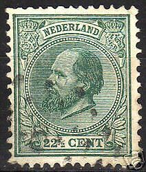 Netherlands 1872 NVPH 25H P 12 1/2x12 big holes  CANC