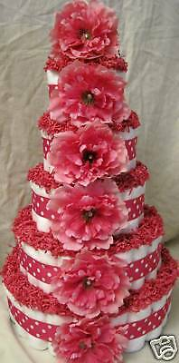 pink with white polka dot 5 tier baby diaper cake