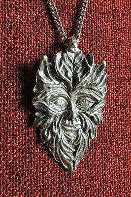 Green Man Wicca Greenman Celtic SCA LARP Medieval Silver Pewter Pendant Necklace