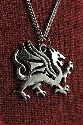 Welsh Dragon Celtic Medieval Stainless Chain  Pewter Pendant Necklace FREE Card