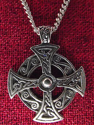 Celtic Short Cross Silver Pewter Pendant Christian Irish Gift Chain Necklace