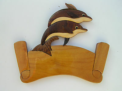Handmade Wooden Art Sign Wall Plaque Dolphins Sea World Animal