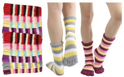 6 Pairs Assorted Stripes Winter Soft Warm Toe Socks Size 9-11 Credos WOMENS NEW