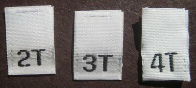 240 Woven Sewing Clothing Labels, Size Tags  2T 3T 4T