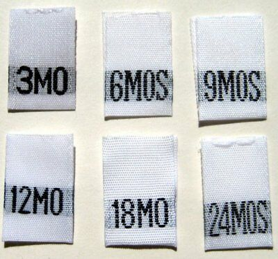 246 Woven Infant Clothing Labels  3 6 9 12 18 24 Months