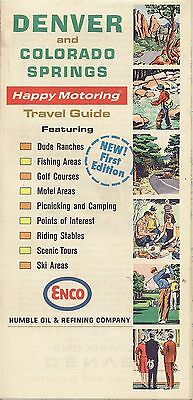 1965 ENCO HUMBLE OIL Road Map DENVER COLORADO SPRINGS Dude Ranches Golf Courses