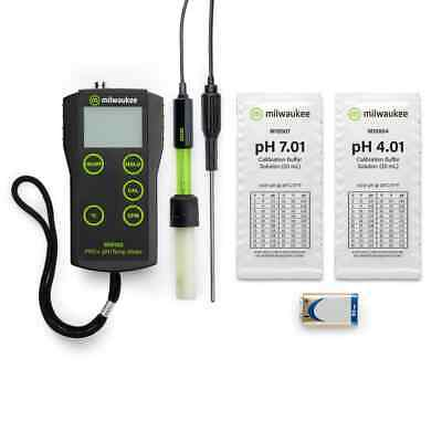 Milwaukee MW102 Smart Portable pH/°C Meter, SE220 probe + Solutions SM102/Tester