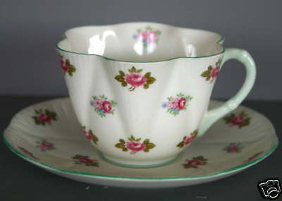 "SHELLEY   ""ROSEBUD""   PATTERN   CUP  &  SAUCER"