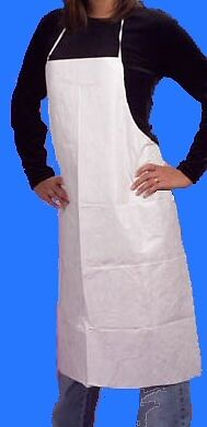 PVC Bib Style Work Aprons-White 900 x 1200-Packs of 10