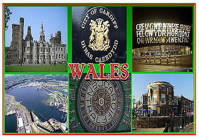 Cardiff, Wales - Souvenir Novelty Fridge Magnet - Flags / Sights - Gift / New