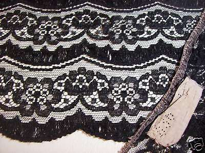 BTY Antique Chantilly French 8IN Wide BLACK FLORAL Scalloped Edge Lace