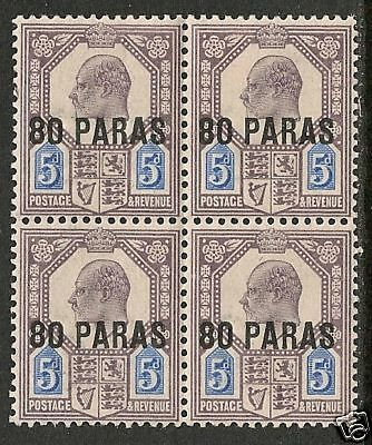British Levant 1902 SG 9 in Bloc of 4  MLH  VF