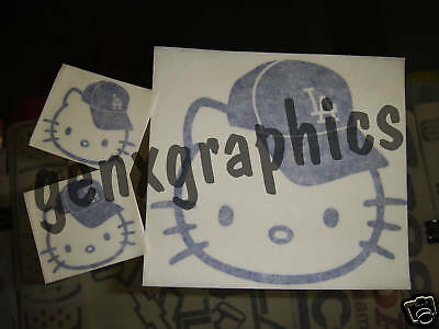 HELLO KITTY LA DODGERS CAP DECAL STICKER VINYL SET of 3