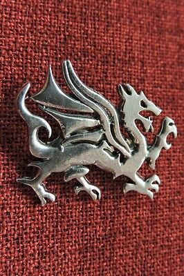 Welsh Dragon Celtic Medieval Wales SCA LARP Silver Pewter Brooch FREE Card