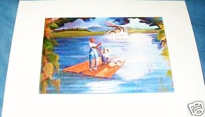 Covered Bridge Huck Finn Cane Pole Fishing Lure Art Print Hand SIGNED by Souders