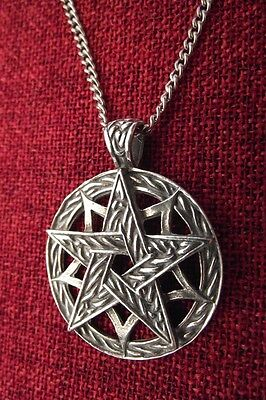 Celtic Star Pentagram Pagan Mystic Wiccan SCA Medieval Pewter Pendant Necklace