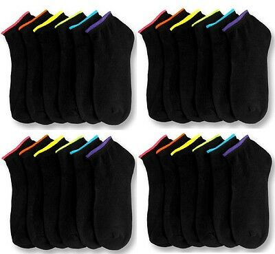 12 Pairs Lot Womens Ankle Spandex Low Cut Socks BLACK Colors #70023A Size 9-11