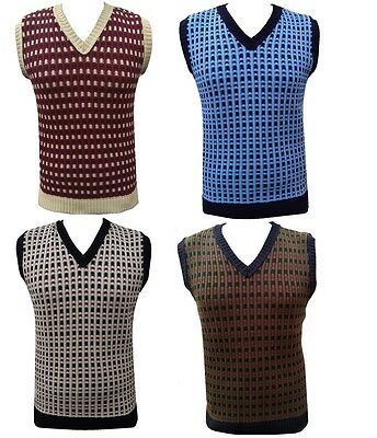 Mens Knitted Vest Sleeveless Retro Vintage Jumper Tanktop Tank Top Golf Sweater