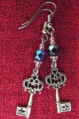 Key Beaded Earrings Medieval French Crystal Surgical Steel Hooks Silver Pewter