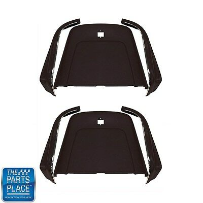 1969-72 GM Cars Bucket Seat Backs & Aprons - Black With Molded Chrome 6pc Kit
