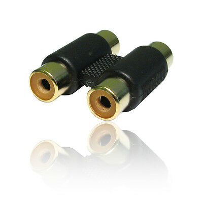 Dual 2x RCA Phono Coupler Female to Female Audio Video Connector Adaptor Twin
