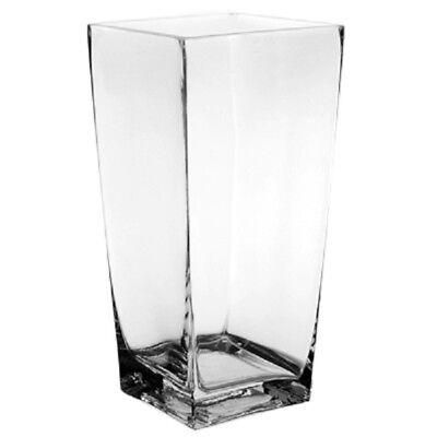 "Clear Glass Square Block Vase Taper Up Style H-9"" Wedding Floral Decor - 12pcs"