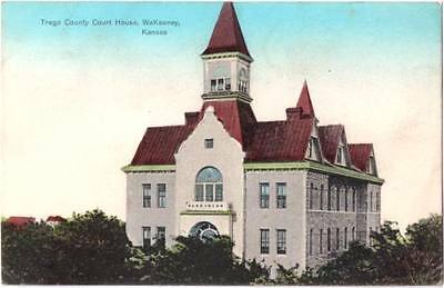 1909 Trego County Court House WaKeeney Kansas Postcard
