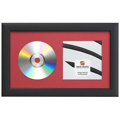 Craig Frames Complete 7x12 CD Display Black Frame with Glass, Red Matting