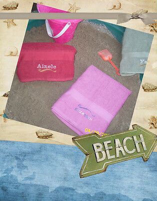 Personalized EMBROIDERED BEACH SPA bridal Towel Wedding birthday favors CUSTOM
